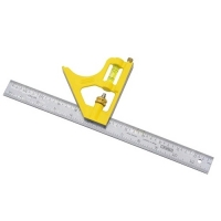 Combination Square with Yellow Die-Cast Handle 12""