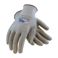 Seamless Knit Polyester Glove with Polyurethane Coated Smooth Grip on Palm & Fingers - Touch Screen Compatible (Large)