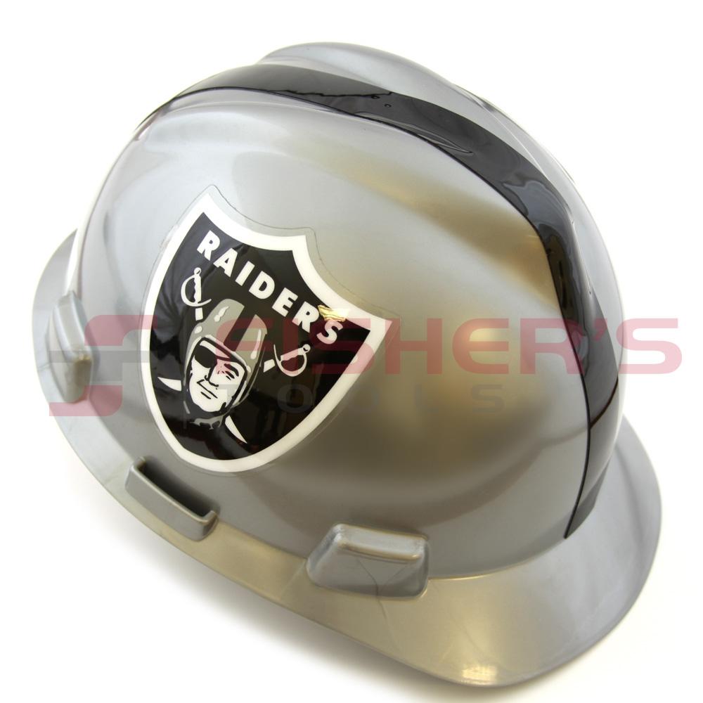Gray//Black Oakland Raiders MSA 818405 NFL V-Gard Hard Hat